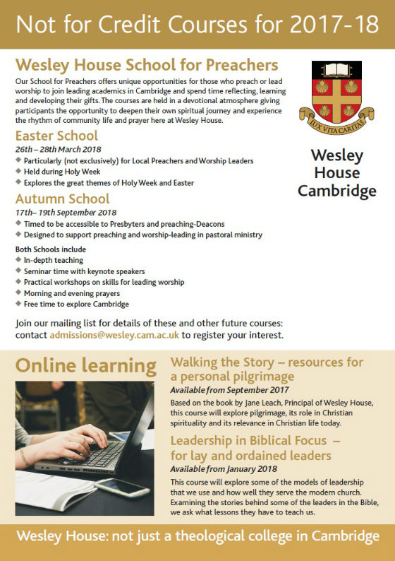 Wesley House NFC Courses 17-18